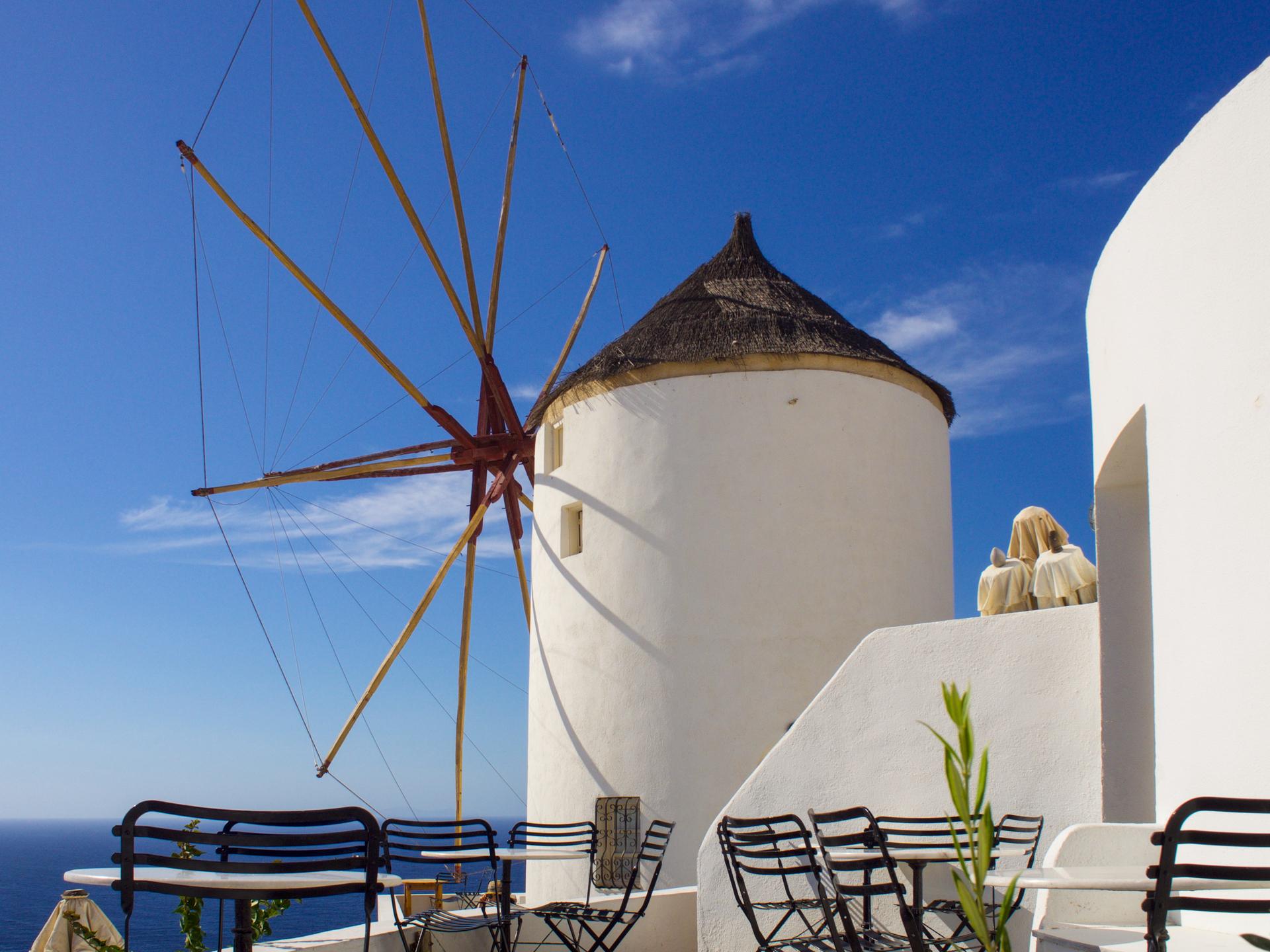 Windmill on Santorini.    wind, travel, traditional, summer