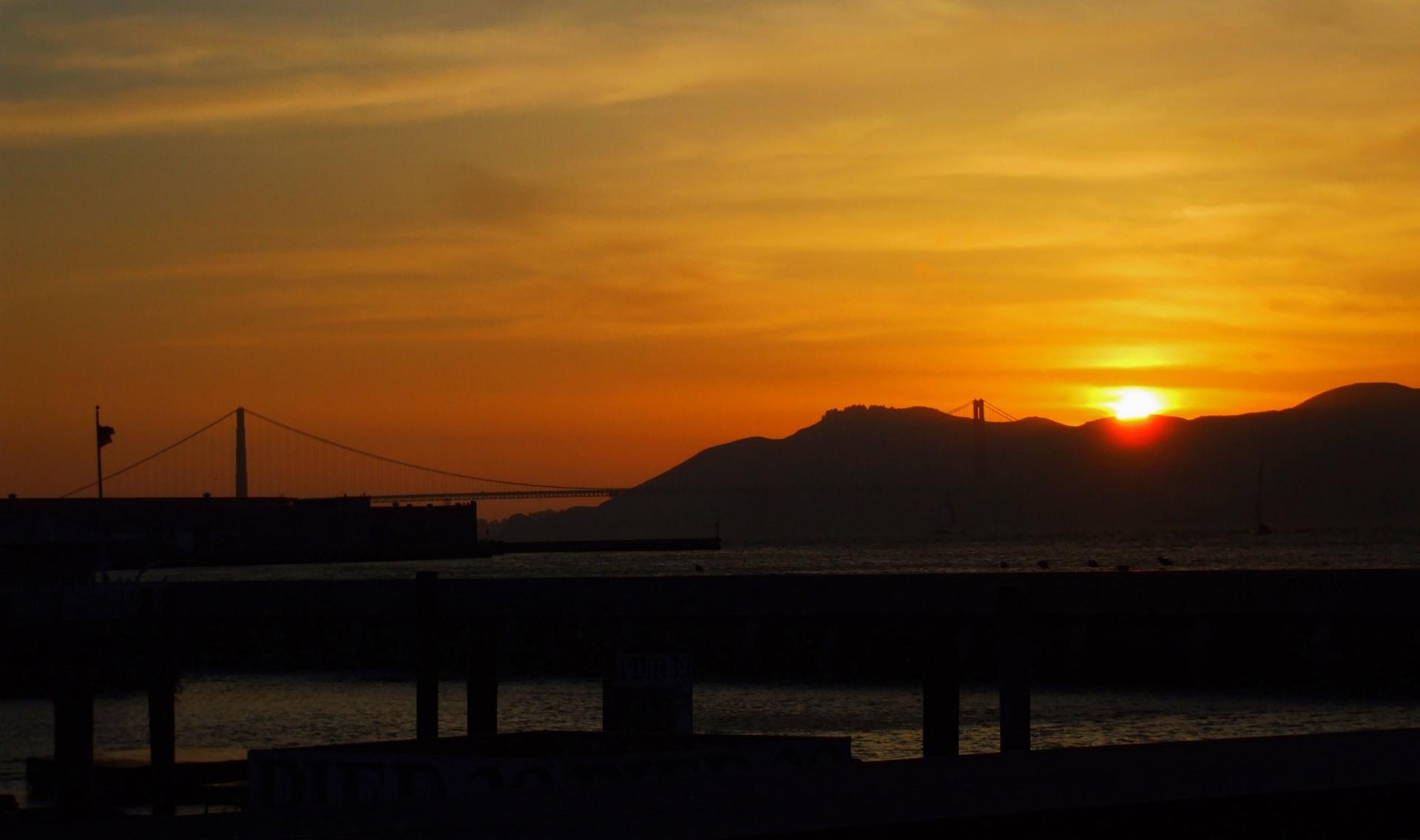 golden sunset in san Francisco,  California