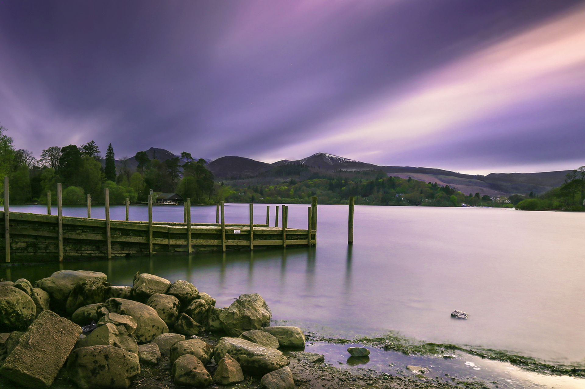 Looking out over Derwent Water. England's Lake District on a very cool evening