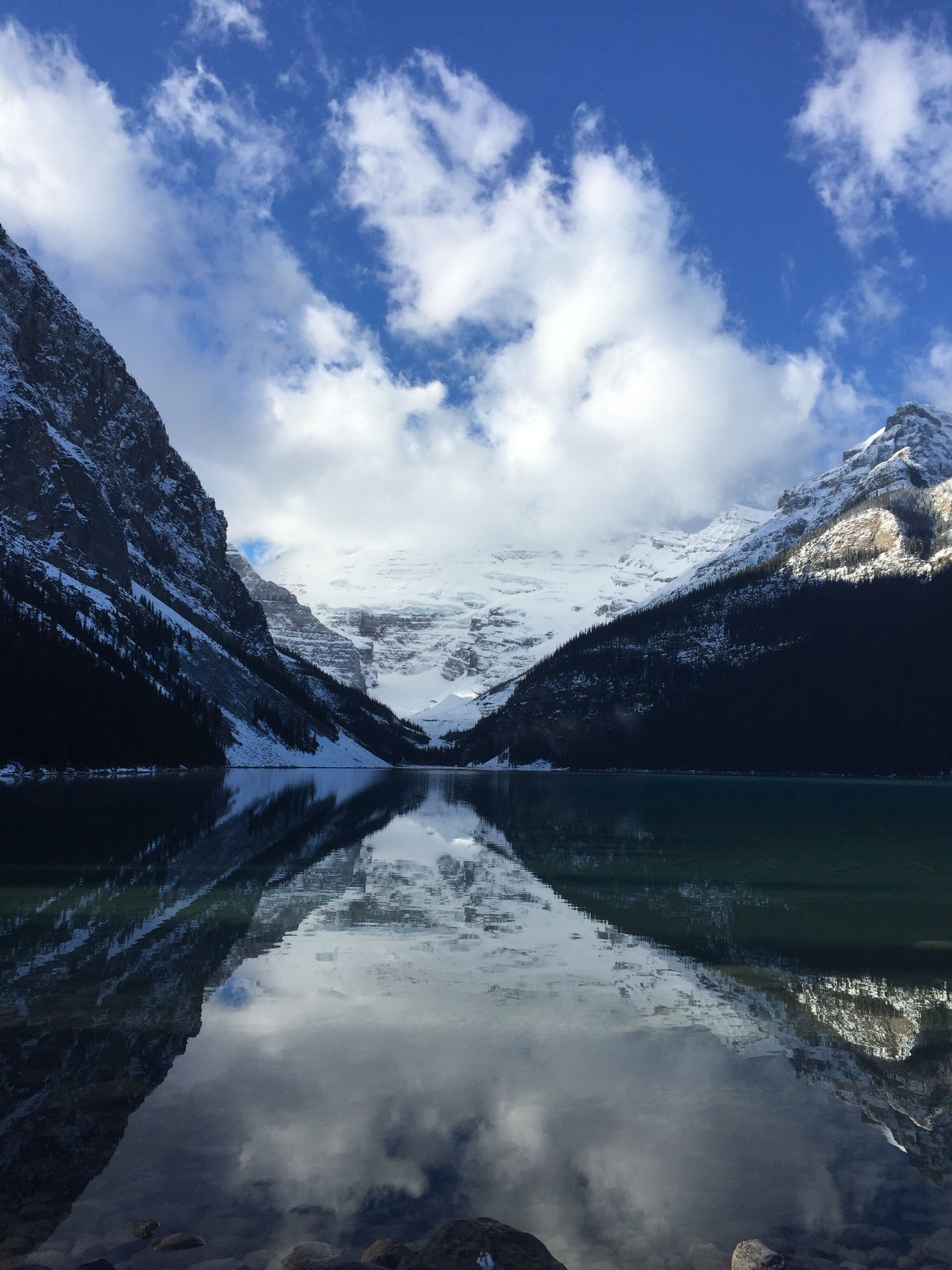 Clouds reflection on lake | mountain, snow, frozen, frost