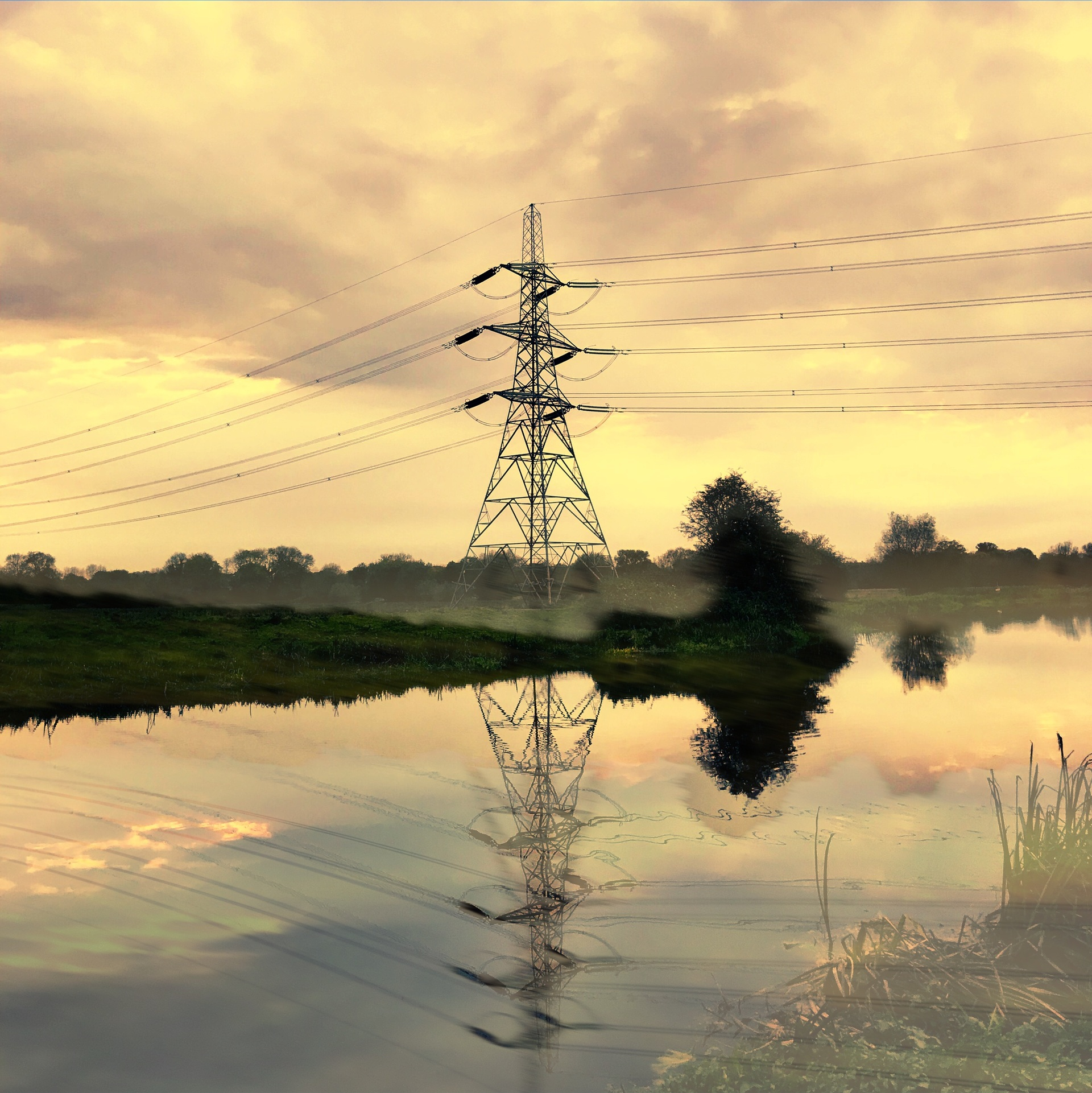 River reflection pylon | mezmic, sky, voltage, electricity