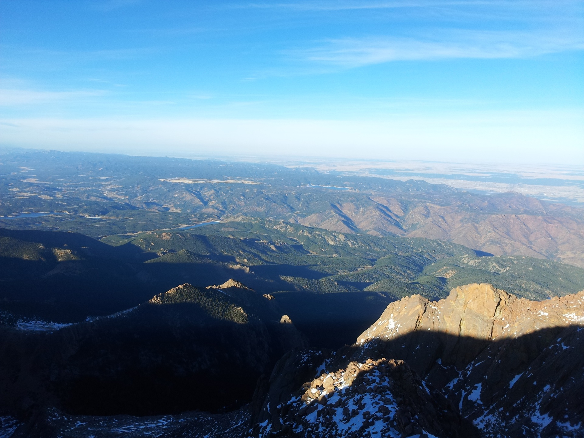 View from top of pikes peak, Colorado at 14,110 feet elevation