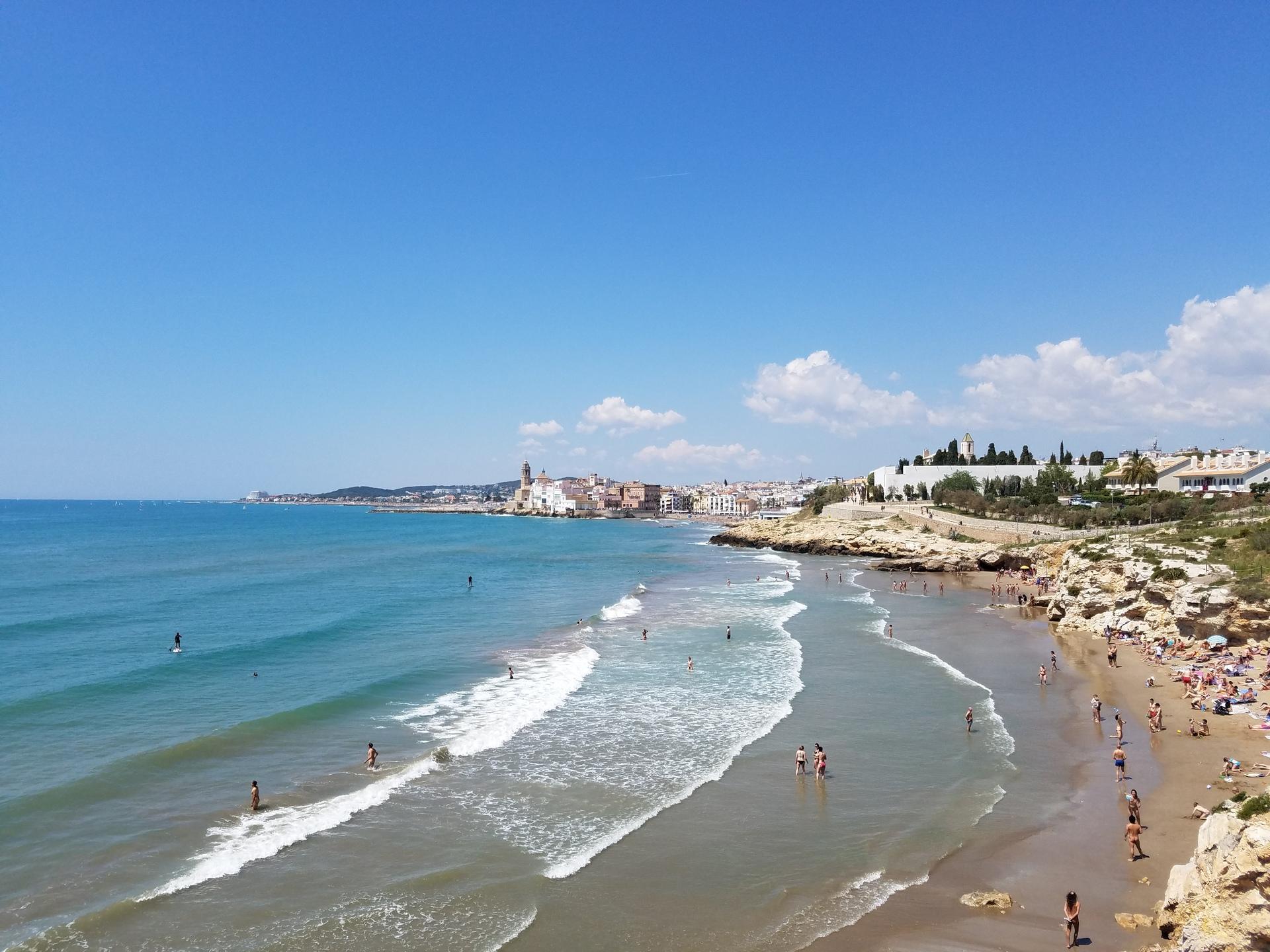 Surf at beach Sitges, Spain