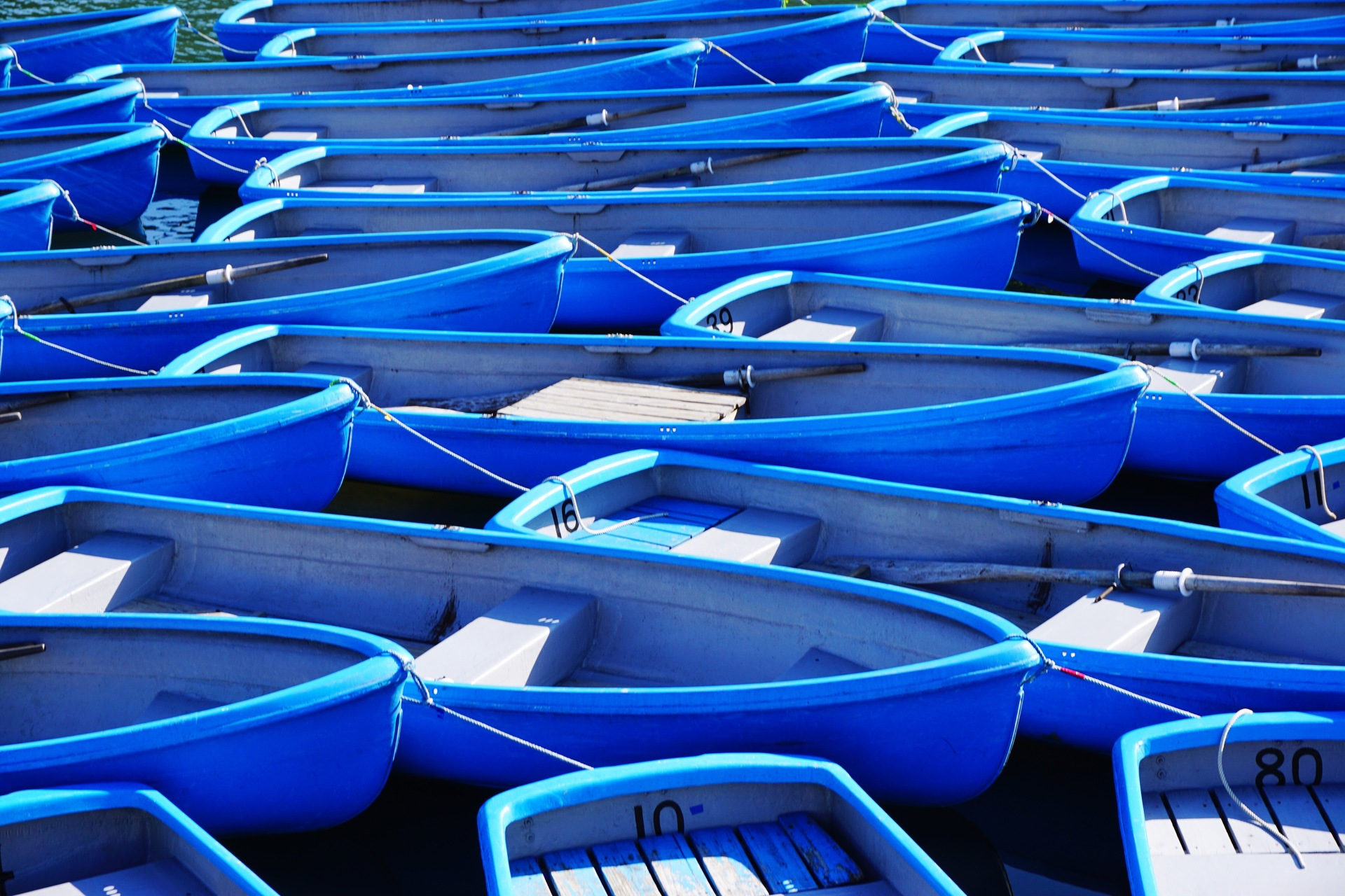 Blue tourist boats moored for the end of season at Arashiyama.