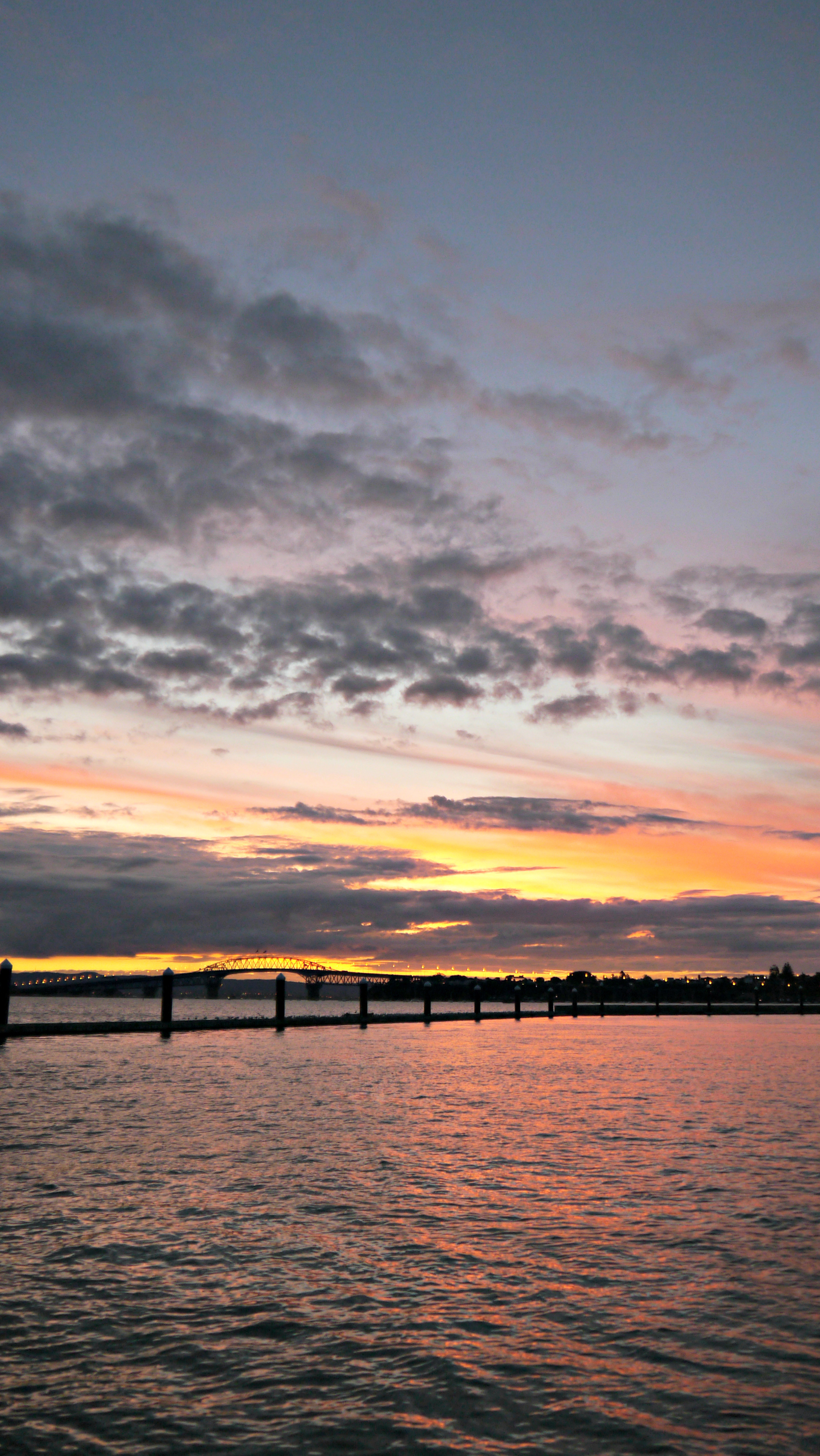 Sunset with Auckland Harbor Bridge in Distance. February 2015