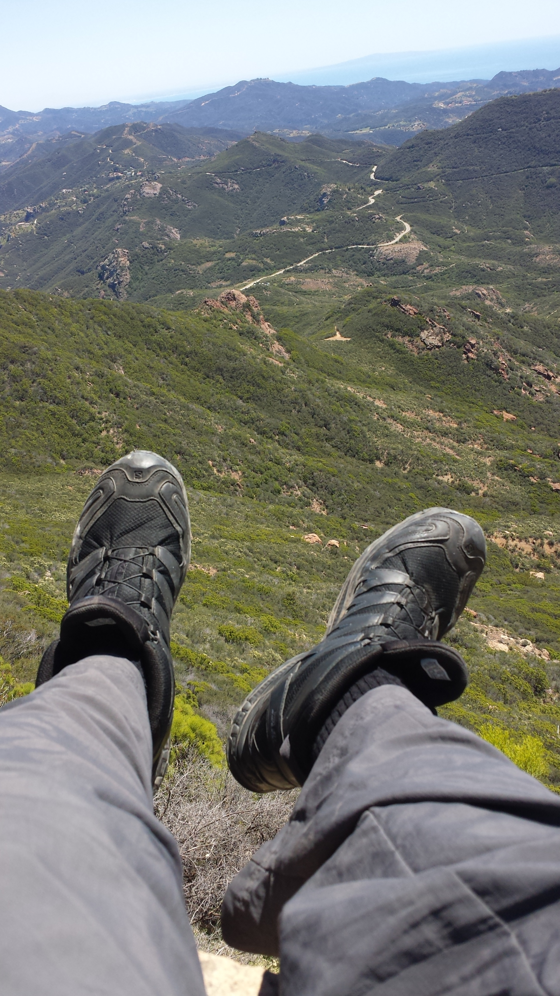hiking feet from mountain top