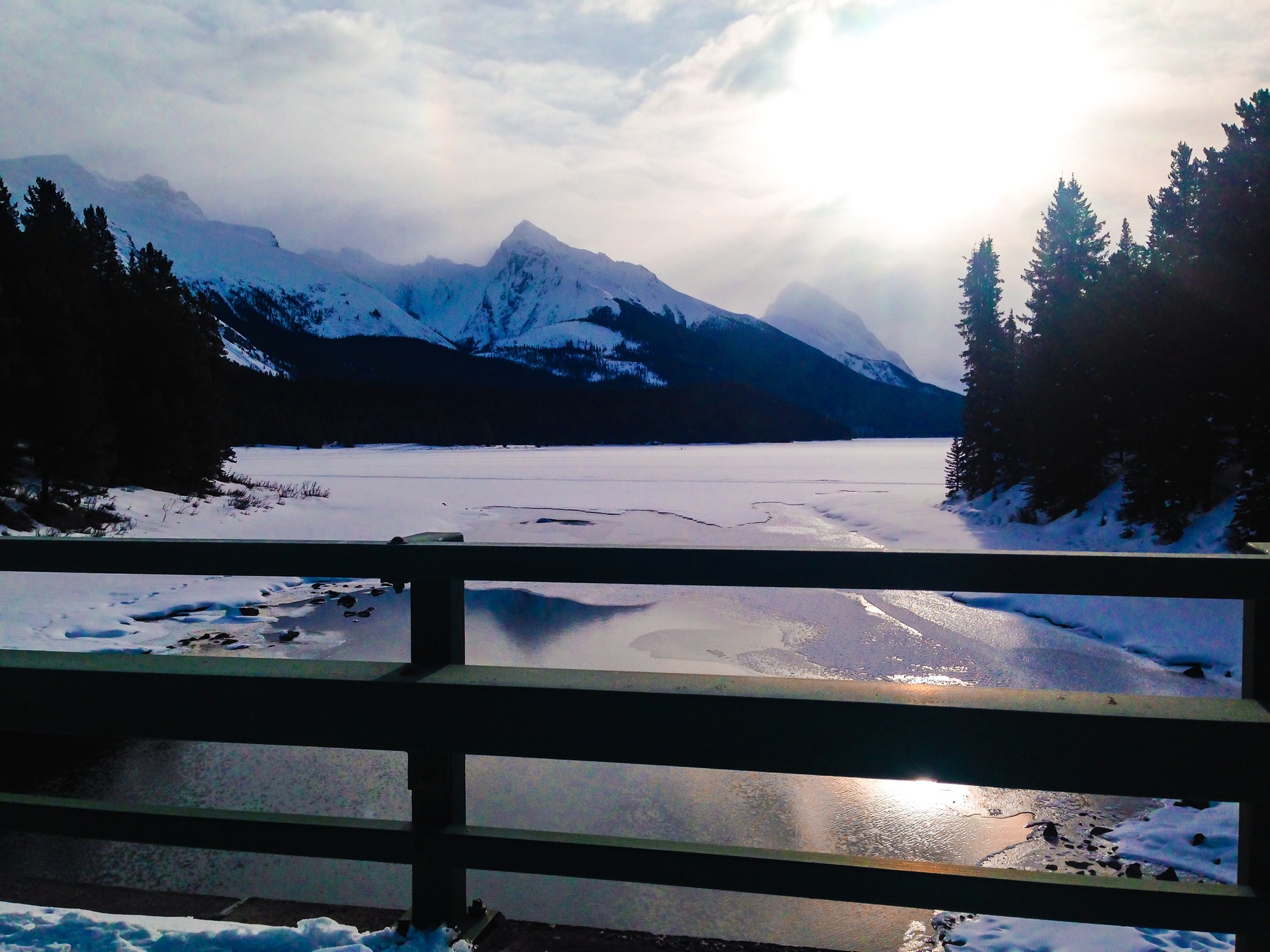 Winter landscape and sunshine | water, travel, snow, sky