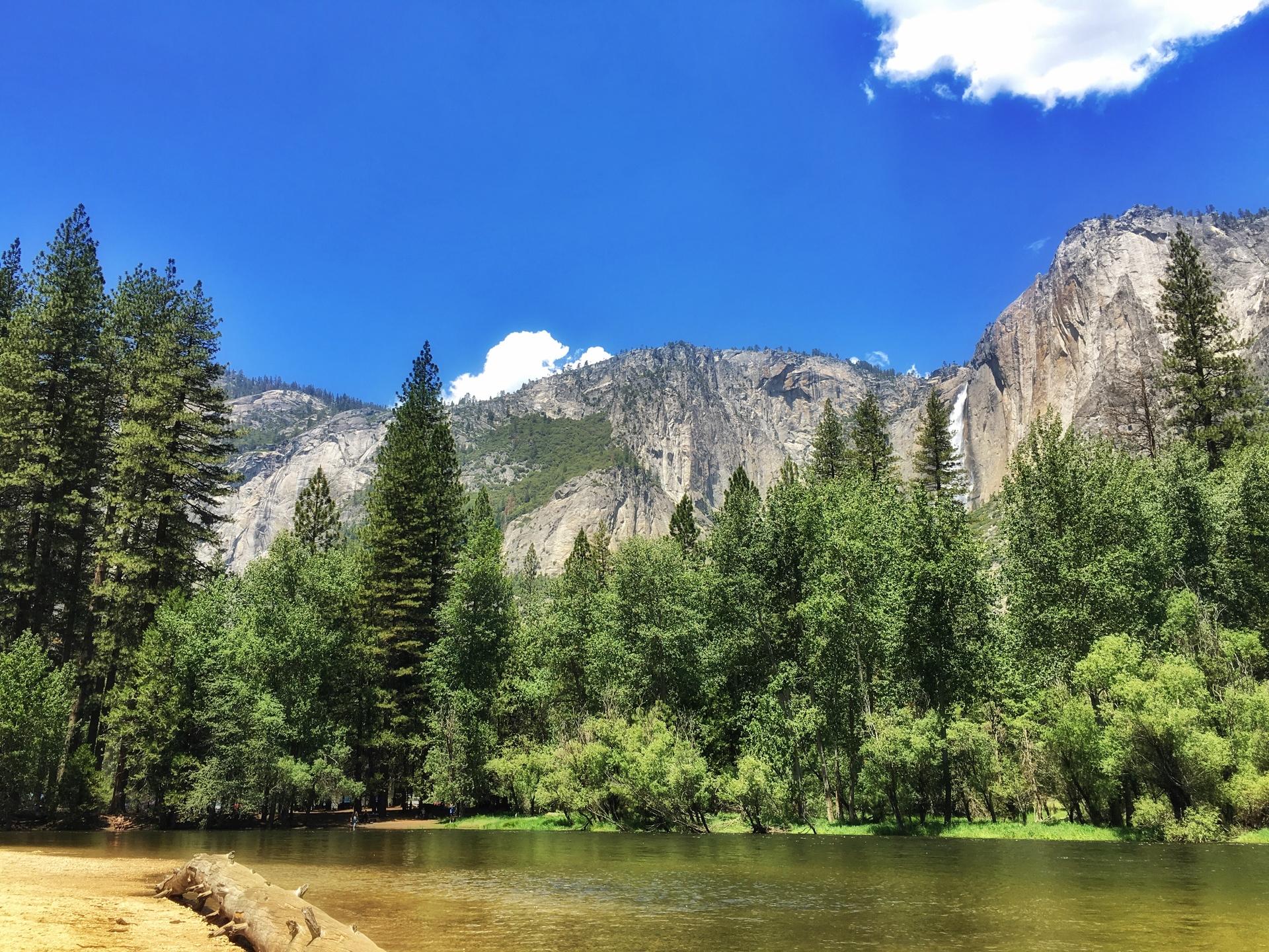 Sentinel Beach with view of Yosemite Falls