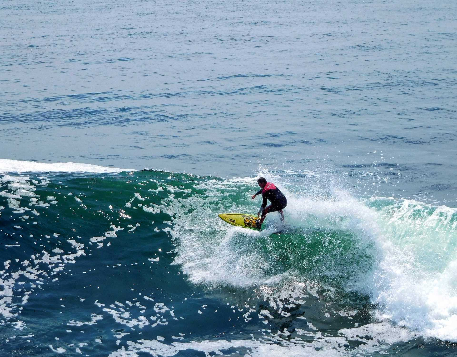 Santa Cruz surfing on a glorious day. California